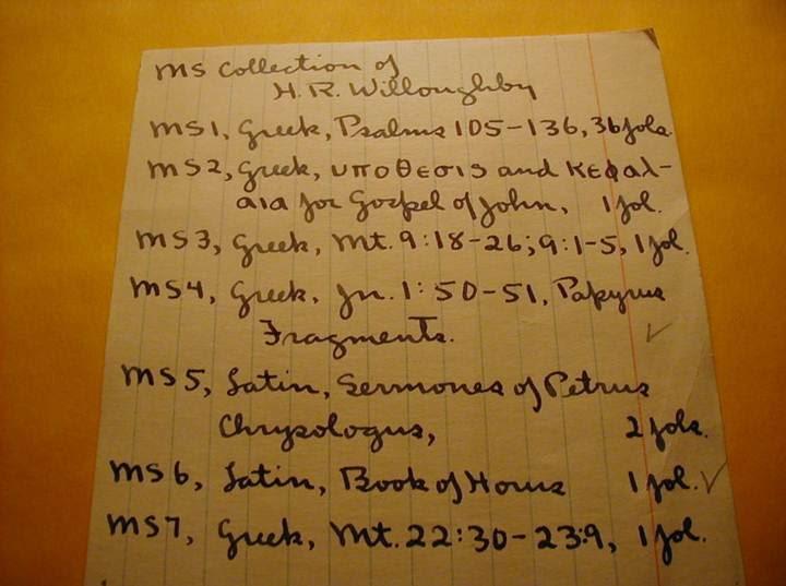 Inventario de Harold R. Willoughby detallando su colección de manuscritos, donde aparece el susodicho papiro.