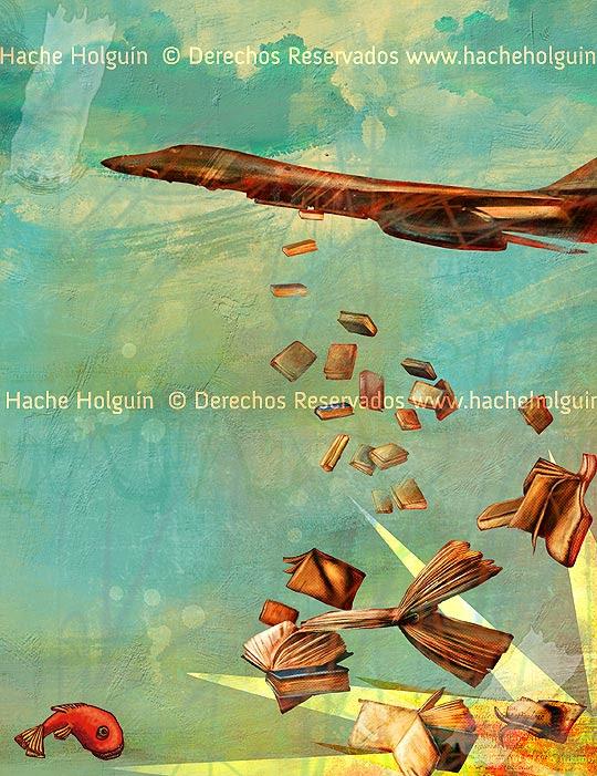 Ilustración Bombardeo por Hache Holguín