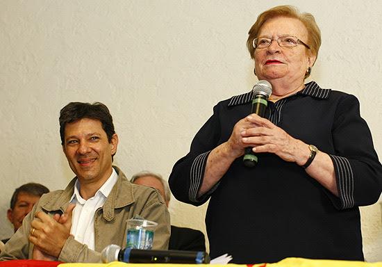 Fernando Haddad e Luiza Erundina em evento em que PSB anunciou apoio ao petista