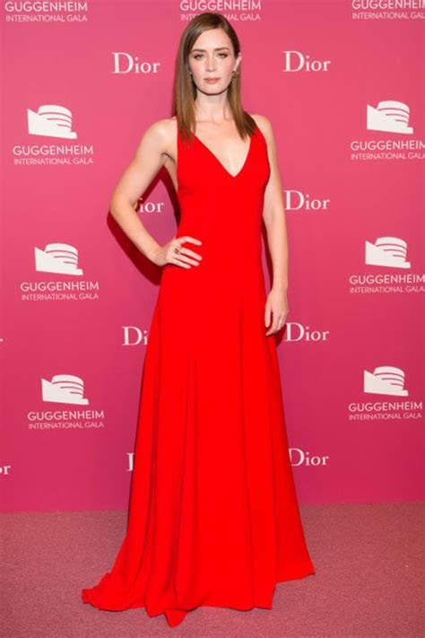 Emily Blunt Red Evening Dress 2015 Guggenheim