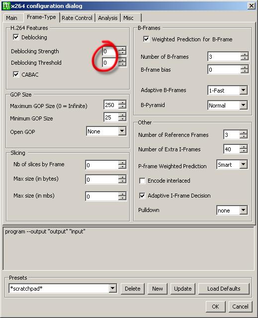 x264 deblocking settings