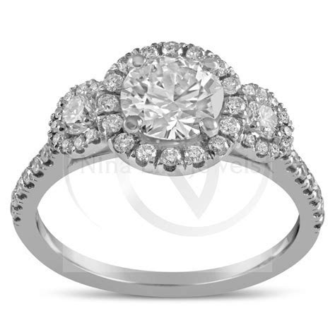 Round Cut Three Stone Diamond Engagement Ring & Matching
