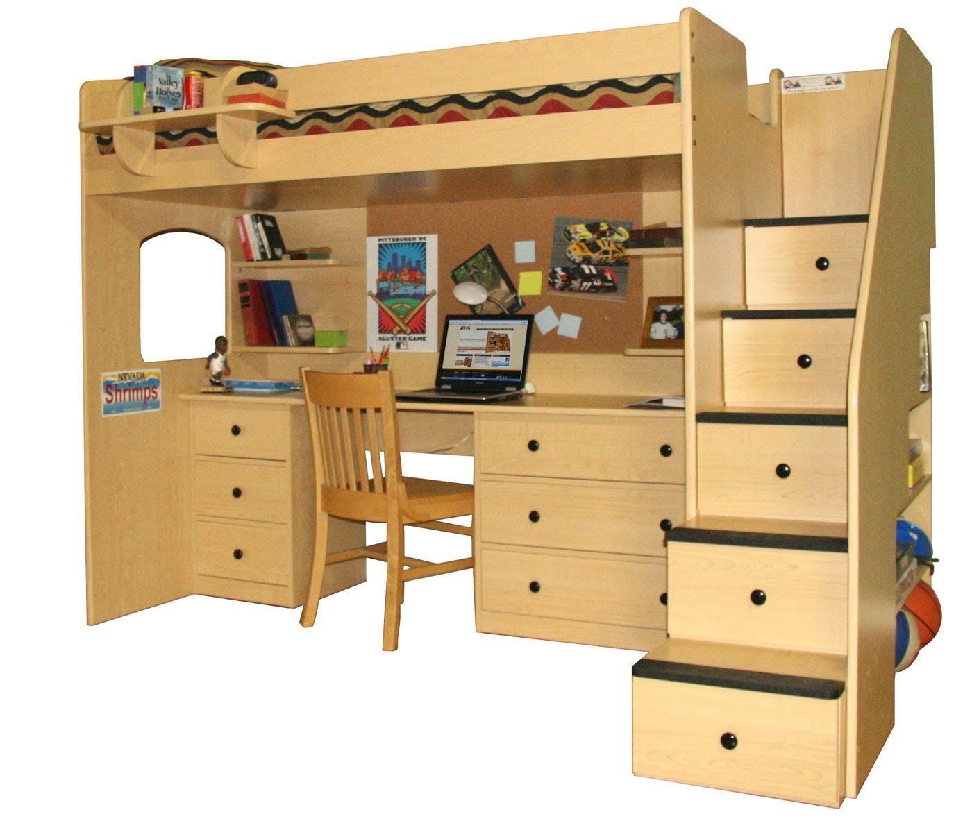 Loft Bed Plans With Desk  BED PLANS DIY  BLUEPRINTS