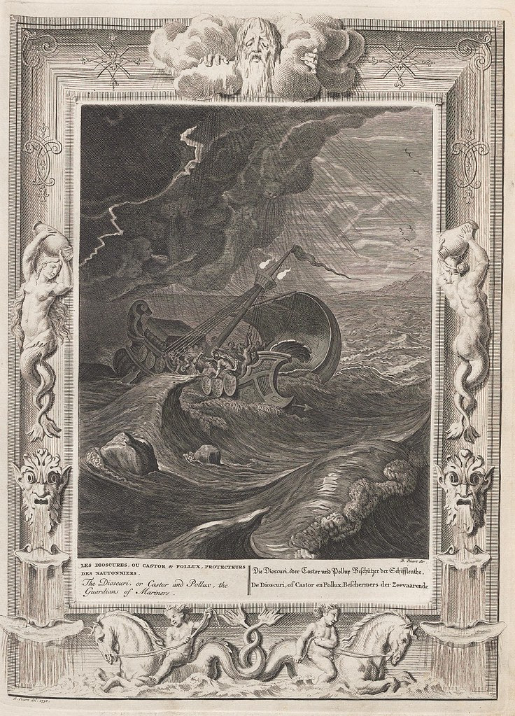 illustration of stylised ancient sailboat in trouble in big seas