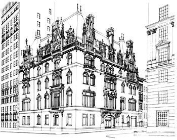 English: Jewish Museum building line drawing