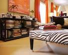 modern chic beige red living room zebra coffee table ottoman ...