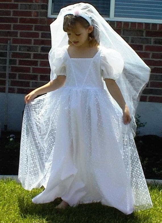 Girls Satin and Lace Enchanted Princess Bride Gown
