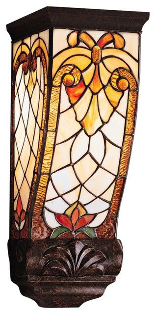 """Country - Cottage Elmbridge Tiffany Style 15"""" High Wall Sconce ..."""