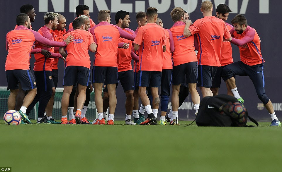 After failing in the drill, the MSN trio were given the bumps as a form of punishment, with Pique (far right) leading the way