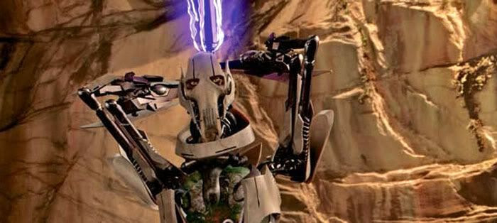 General Grievous, his gutsack exposed, wields an electrostaff.