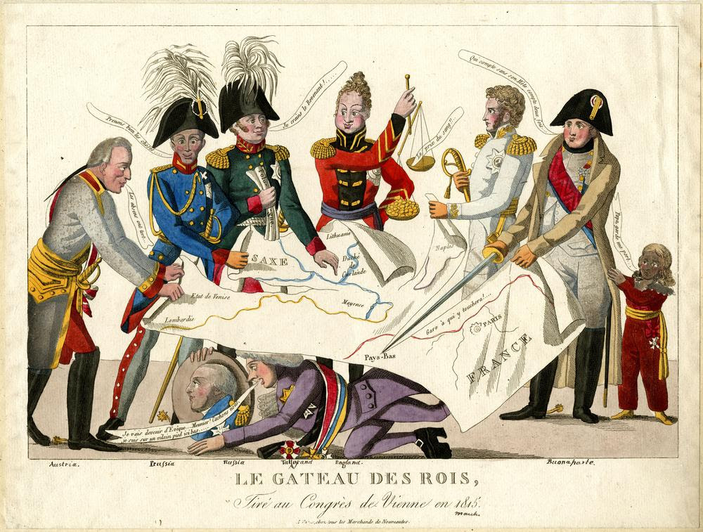 Satire on the Congress of Vienna: five crowned heads of Europe dispute over a map of Europe while Napoleon cuts off the part with France; Tallerand hides under the table.  June 1815 Hand-coloured etching