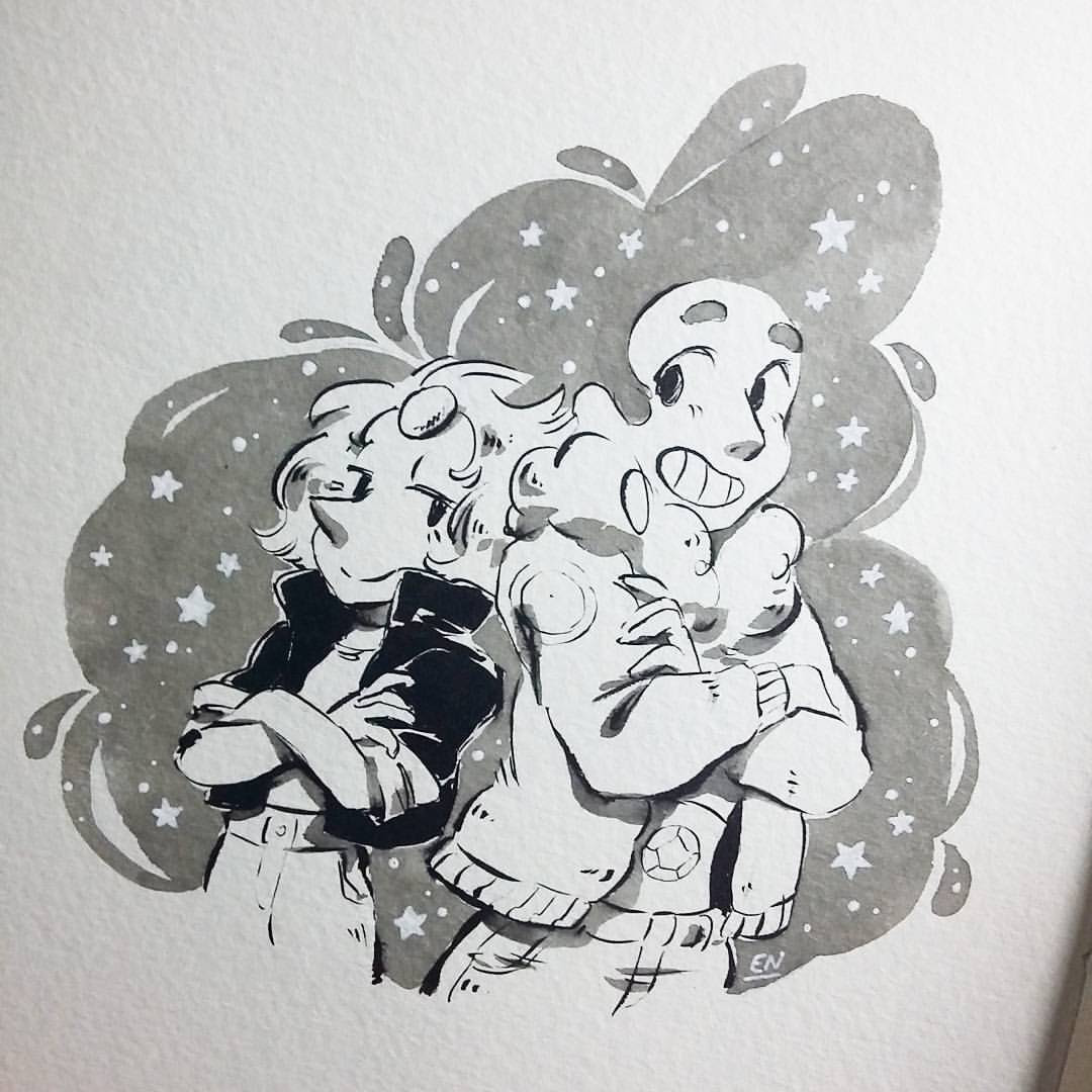 Day 07 Bad girls from Beach City! xD #inktober #inktober2016 #stevenuniverse #pearl #stevonnie