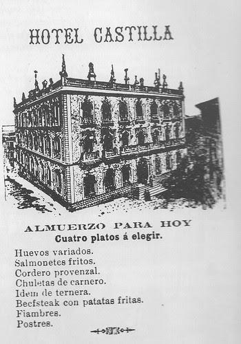 Menú del Hotel Castilla de Toledo del día 18 de noviembre de 1894 publicado en el Diario de Toledo