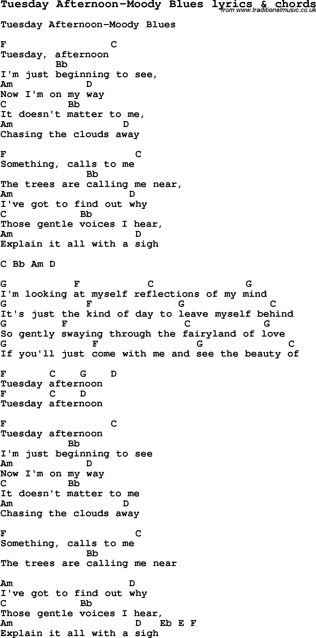 Love Song Lyrics For Tuesday Afternoon Moody Blues With Chords