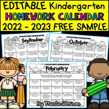 Kindergarten Homework Calendar EDITABLE - FREE... by Marta Almiron ...