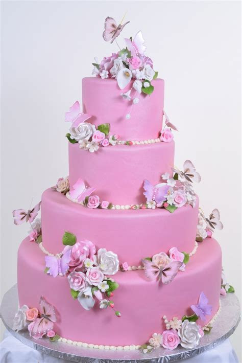 Wedding Cakes Pictures: Pink Butterfly Wedding Cakes