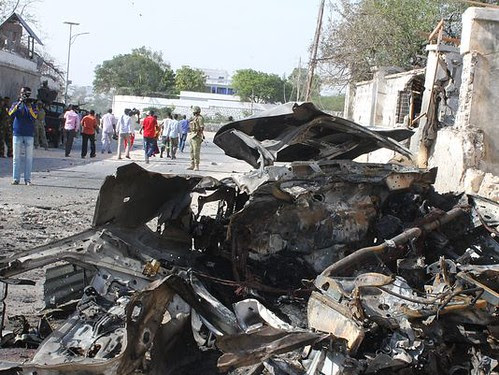 Damage from a Somalia bomb blast on Feb. 21, 2014. The attack took place outside the presidential palace in Mogadishu. by Pan-African News Wire File Photos