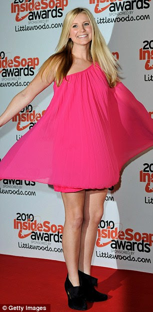Pretty in pink: Hollyoaks's Carley Stenson looked a vision in an off-the-shoulder number