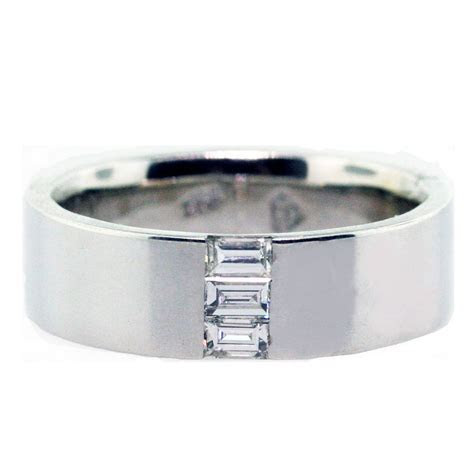 14kt white gold and emerald cut diamonds men's wedding