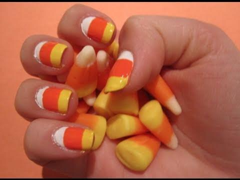 Tutorial: Halloween Candy Corn Nail Art - YouTube