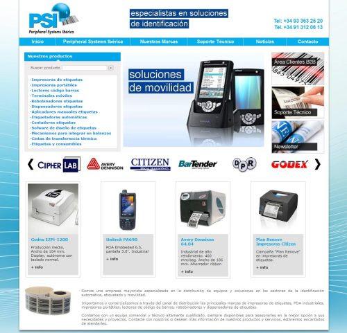 Nuevo diseño web: PSI Hemos realizado el diseño web y programado la nueva página web de PSI Systems Ibérica, empresa mayorista de equipos y soluciones para la identificación automática, etiquetado y movilidad.PSI importa y comercializa a través del canal de distribución los productos de los principales fabricantes de impresoras de etiquetas, PDA industriales, impresoras portátiles y lectores de código de barras. Más info