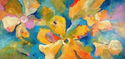"Floral Fantasy by Filomena Booth Acrylic ~ 24"" x 48"""