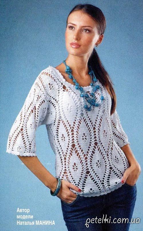 Calados ganchillo suéter.  Descripción del esquema