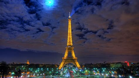 full hd wallpaper eiffel tower illumination amazing sky