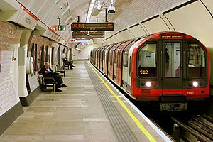 London Underground tube train at Lancaster Gate