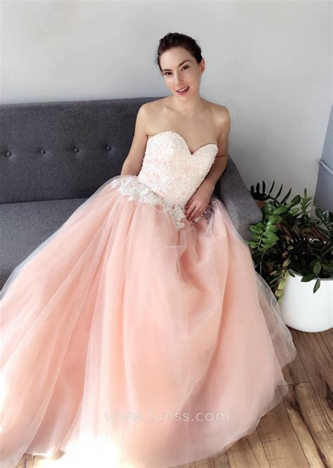 White Lace Appliqued Peach Blush Satin and Tulle Ball Gown