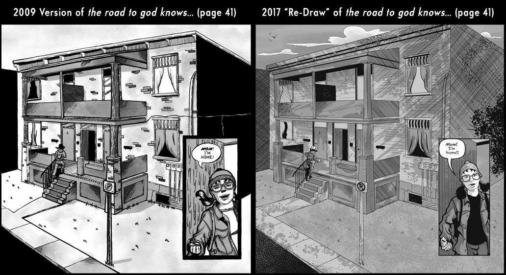 Comparison between page 41 from the 2009 published version of the road to god knows... and the 2017 redrawn version by Von Allan