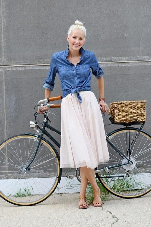 flowy skirt / denim shirt / sandals