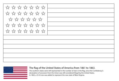 us flag 34 stars 1861 1863 coloring page