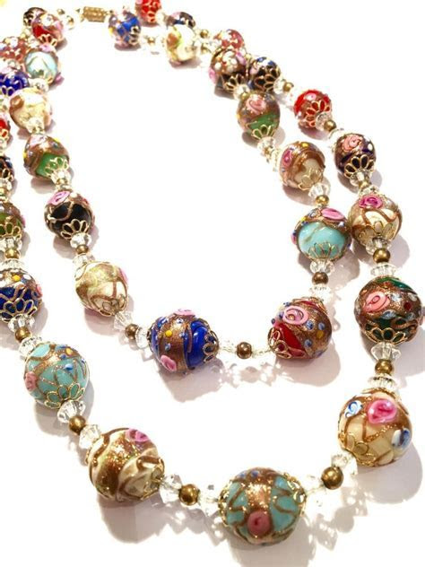 Vintage Antique Wedding Cake Necklaces (2) Venetian Murano