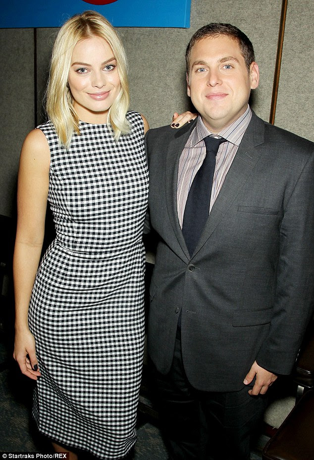 Pals: The actress posed with co-star Jonah Hill at a luncheon and Q&A for the film