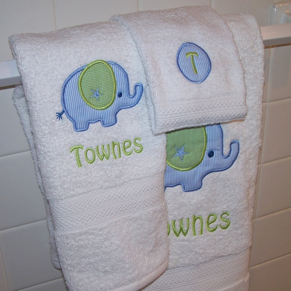 Monogrammed Kid's Bath Towel Set - Bath Towel, Hand Towel and Wash Cloth - you choose the applique