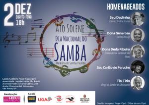 Deputada Leci Brandão realiza ato solene pelo Dia Nacional do Samba