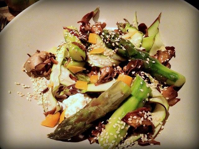 Salad with asparagus, maitake mushrooms, fresh cheese, lemon and sesame seeds - Outerlands