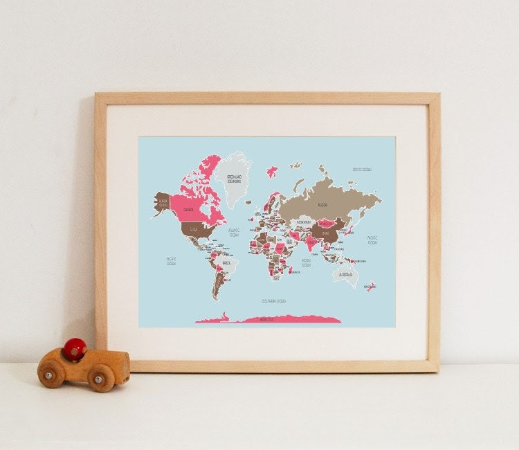 Large World Map in Pinks and Browns