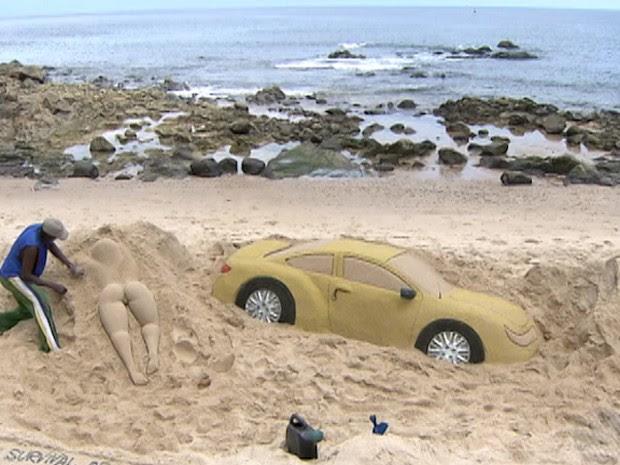 carro de areia (Foto: Reprodução / TV Bahia)