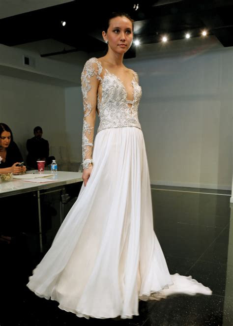 victor harper alluring long sleeve sheath wedding gown
