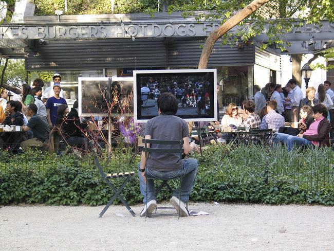Ernie Gehr installation, Mad Sq Park