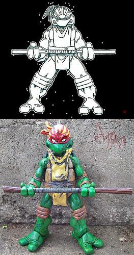 "tOkKa : : ""Rising Sun"" Donatello ..tOkKustom NECA TMNT // Eastman concept compare .."