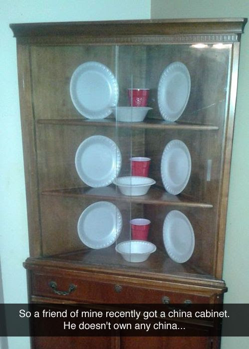 china cabinet funny, hutch with paper plates