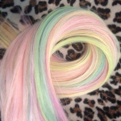 Rainbow/sorbet colored hair extensions