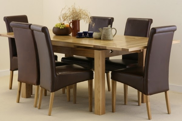 4.5ft x 3ft Solid Oak Extending Dining Table + 6 Brown Leather Scroll Back Chairs