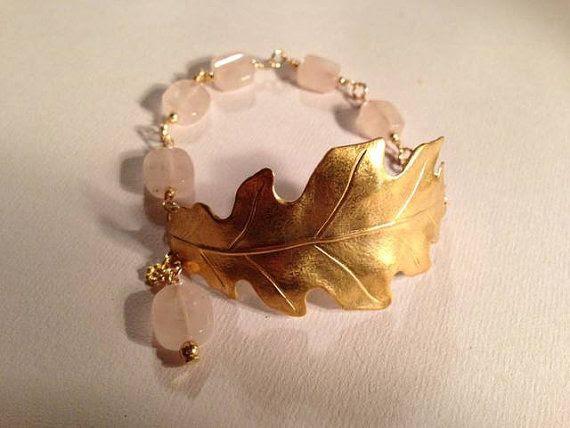 Pink Bracelet Rose Quartz Jewelry Gold Jewellery Leaf by cdjali, $37.00
