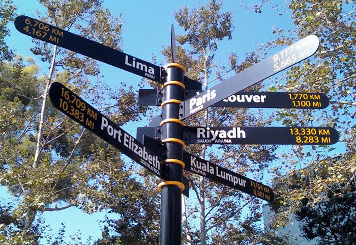 A new signpost at CSULB...showing the distance to different cities around the world.