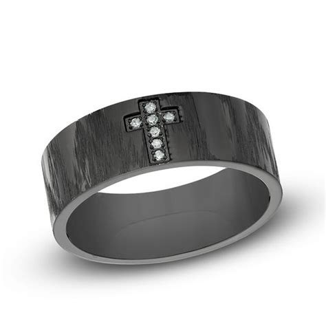 Men's Diamond Accent Cross Wedding Band in Black IP