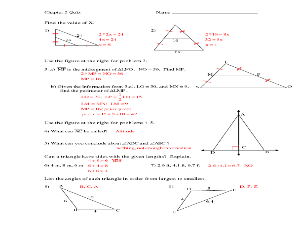 Easy Midsegment theorem Worksheet Answers  goodsnyc.com